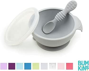 Bumkins Silicone First Feeding Set, Gray