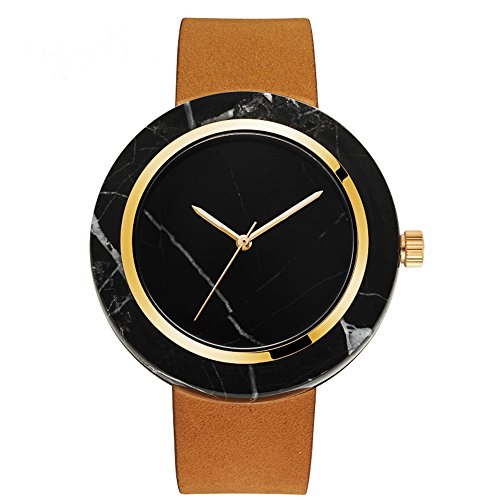 Times Unique Marble Men Watch Fashion Steel Bezel Genuine Cow Leather Strap With Box-Tan Rose Gold