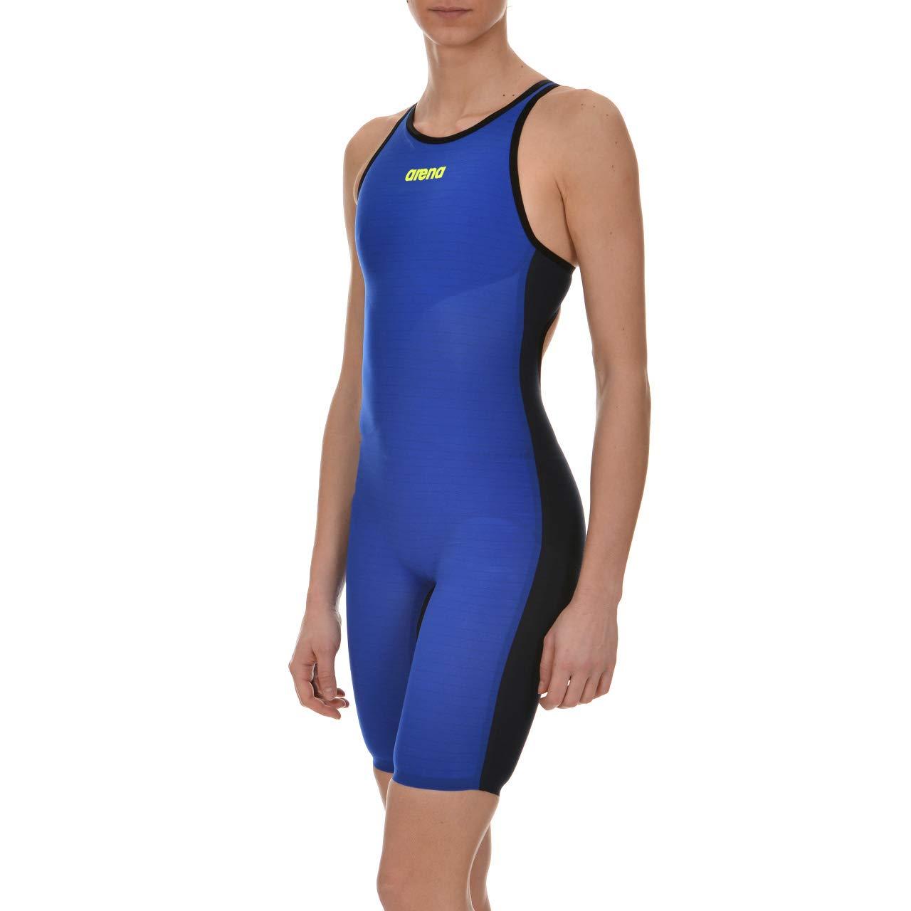 arena Powerskin Carbon Air FBSL Open Back Women's Racing Suit, Electric Blue / Titanium Blue, 22