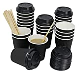QuaCity Set of 50 Insulated Disposable Ripple Cups 8 Oz with Black Lids and Wood Stirrers - Perfect for Hot and Cold Beverages - No Soaking or Smells - Take To Go (Black)
