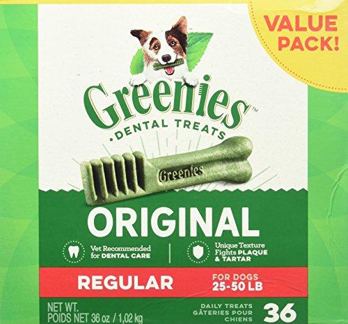 GREENIES Dental Dog Treats, Regular, Original Flavor, 36 Treats, 36 oz.