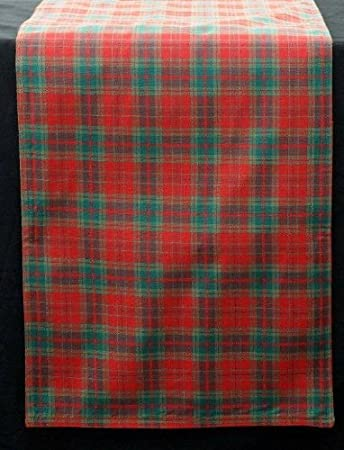 Table Runner In A Red And Green Plaid Design Derived From Scottish Tartan.