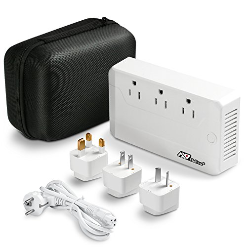 FlePow 220V to 110V International Travel Voltage Converter with Quick Charge 3.0 + 3 USB Charging Ports, UK/AU/US/EU Worldwide Plug Adapters Included