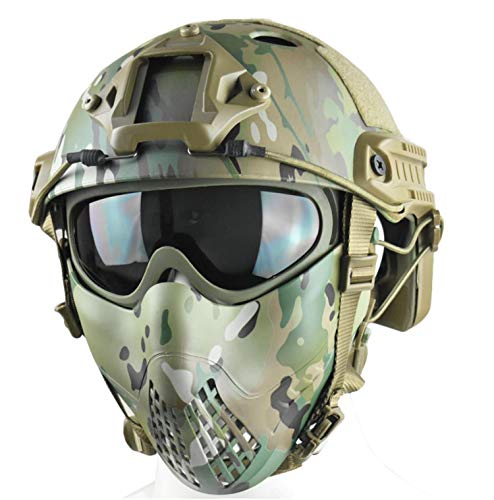 JFFCESTORE Tactical CS Field Helmet Combined with Two wear Methods Half Face Mask and Tactical Goggle for Paintball Hunting CS Training (Multicam) (Best Helmet Cam For Paintball)