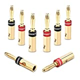 UGREEN Banana Plugs 24K Gold Plated, 4 Pair Closed Screw Banana Plug Connectors for Speaker Cable,Corrosion-Resistant ,4 Red, 4Black