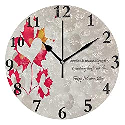 Ladninag Wall Clock Leaves Valentine Hearts Wallpaper Silent Non Ticking Decorative Round Digital Clocks Indoor Outdoor Kitchen Bedroom Living Room