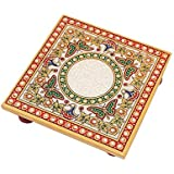 Handicrafts Paradise Intricate Butterfly Design Painted Marble Chowki (15.3 cm x 15.3 cm x 2.55 cm, Multicolor)