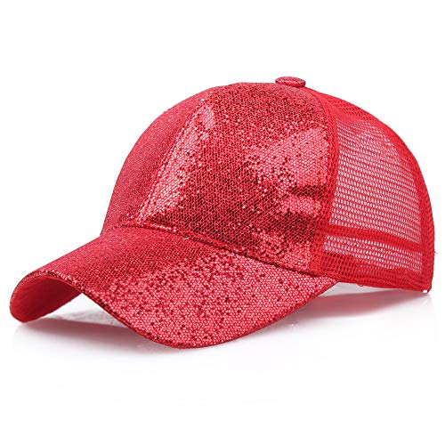 Hot Sales!! ZOMUSAR Sequins Ponytail Baseball Cap Shiny Messy Bun Snapback Hat Sun Caps for Women and Men (Red, L) by ZOMUSAR (Image #4)