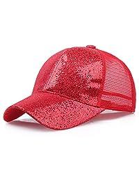 Women Girl Breathable Sun Protection Adjustable Baseball Cap, Sequins Shiny Ponytail Sun Hat, Snapback Hats Sun Caps