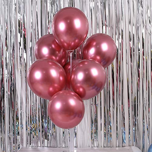 Gotian 50Pcs Chrome Shiny Metallic Latex Balloons for Birthday Wedding Grad Party ~ Perfect for Birthday Party Bridal Baby Shower Engagement Wedding Party Decor (Chrome red)