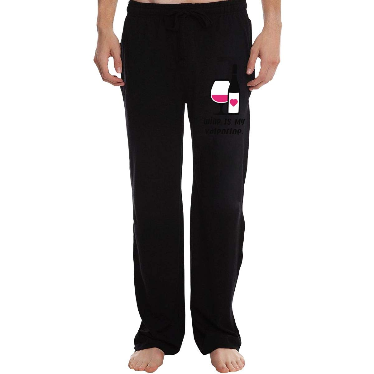 KWZ44 Wine is My Valentine Mens Sweatpants Extra Long CottonSleep Pants for Mans
