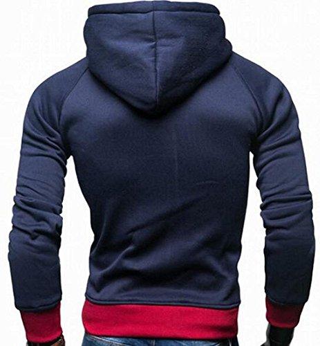 Felpa Lunga Minetom Con Contrasto Zip Di Inverno Colore Hoodie Rosso Cappotto Autunno Manica Giacca Cappuccio Sweatshirt Uomo Pullover 7qqAX