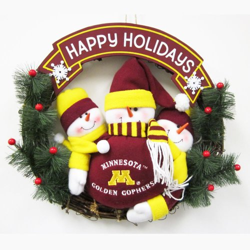 Minnesota Golden Gophers Snowmen Christmas Wreath by Fans With Pride (Image #1)