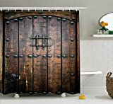 Ambesonne Rustic Decor Collection, Ancient Wooden Door Historical Vintage Exterior Medieval Structure Artistic Picture, Polyester Fabric Bathroom Shower Curtain, 84 Inches Extra Long, Silver and Brown