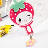 Childrens Mirror Mini Square Shape Strawberry Pattern Hand Mirror Small Glass Mirrors for Crafts Decoration Cosmetic Accessory