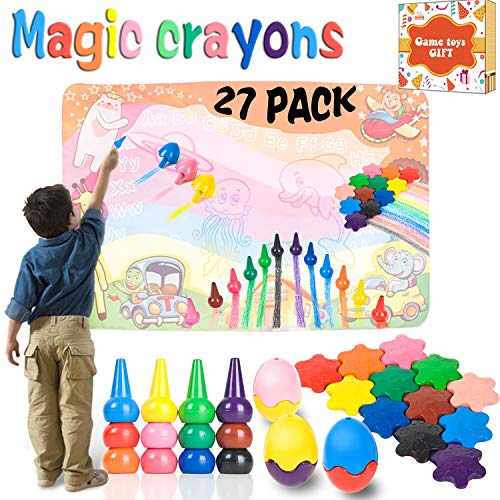 27 Pack Crayons Drawing Paint Set, Kids Washable Doodle Toys Finger Star Egg Palm-Grip Writing Pastels for Toddlers Boys Girls School Party Favor Party Supplies Education Gift ()