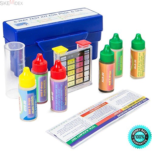 SKEMiDEX 5 Way Swimming Pool Spa Water Chemical Test Kit CHLORINE BROMINE pH ALKALINITY And digital pool test kit pool test kit reviews pool test kit instructions pool test kit walmart 5 way pool (Mart Spa Wal)