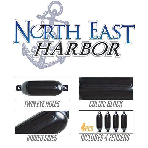 Twin Eye Ribbed Boat Pontoon Fender 6.5'' x 23'' 4pcs Inflatable Vinyl Mooring Bumpers Guard Dock Docking - Black