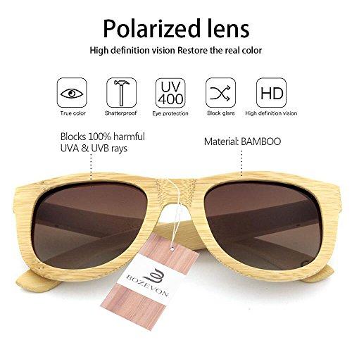 BOZEVON Polarisé lunettes Hommes et Bambou Marron Pour de Cru Des En bois soleil Femmes xCHgZqwx