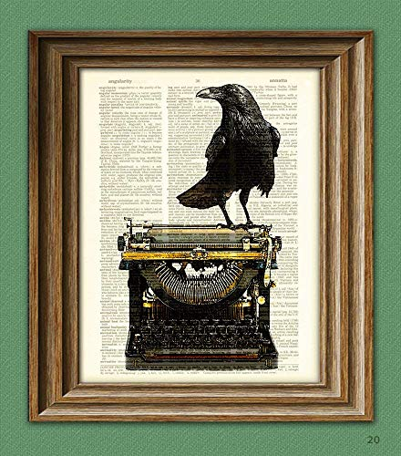 (The Dark Muse Raven On a Typewriter Black Bird Crow Illustration Beautifully Upcycled Dictionary Page Book Art Print )