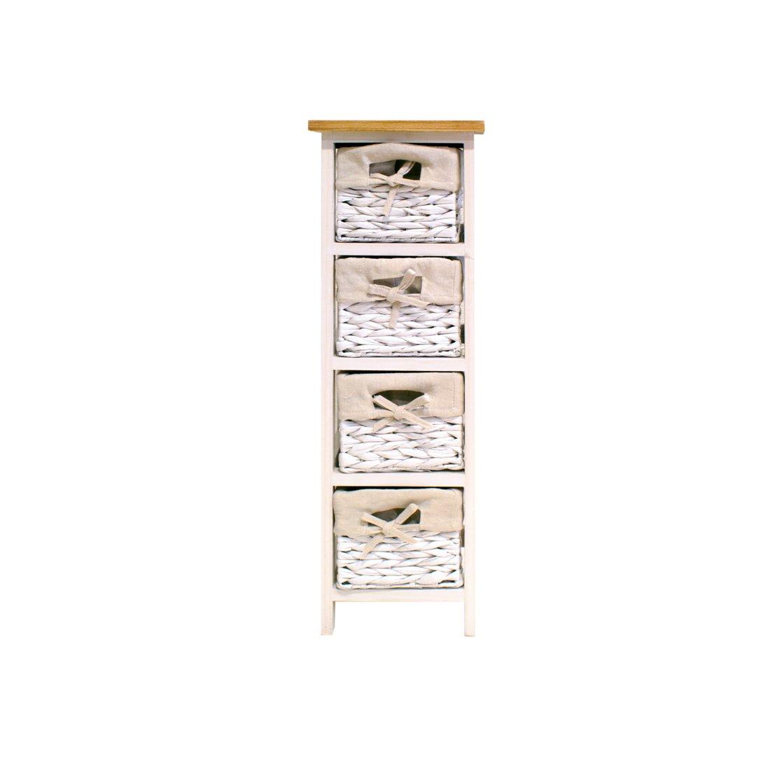 FRANDIS 199317Venezia cassetti a torre, in legno bianco laccato con vassoio in legno naturale + 4cestini canne bianco 26,5x 26,5x 76cm