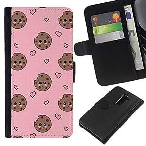 Stuss Case / Funda Carcasa PU de Cuero - Cara sonriente rosada dulce - LG G2 D800