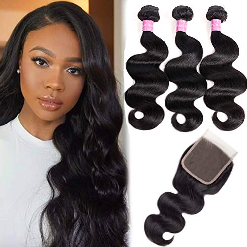 10A Brazilian Body Wave 100% Unprocessed Human Hair 3 Bundles With Closure(14 16 18+12,Free part Natural Color) Body Wave Brazilian Human Hair Bundles With Closure