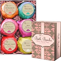 Bath Bombs Gift Set - 6 Essentila Oil Spa Fizzies, With Cocoa & Shea Butter, Releives pain & Moisturizes Dry Skin by Premium Nature