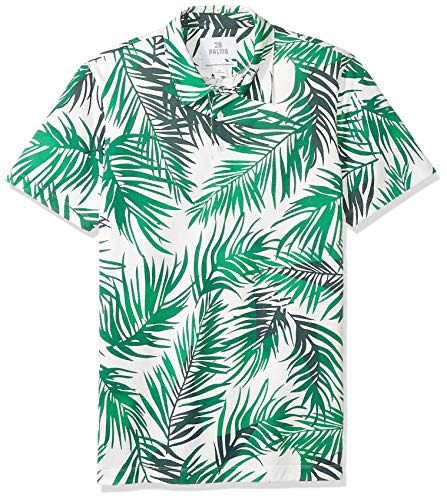 28 Palms Men's Relaxed-Fit Performance Cotton Tropical Print Pique Golf Polo Shirt, Green/White Palm Leaves, X-Small