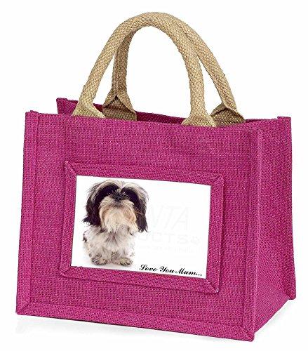 Advanta–Mini Pink Jute Tasche Shih-Tzu Hund Love You Mum Little Mädchen klein Einkaufstasche Weihnachten Geschenk, Jute, pink, 25,5x 21x 2cm