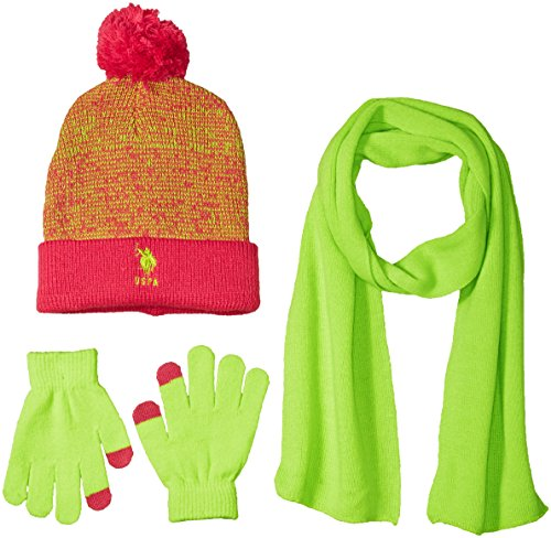 us-polo-assn-big-girls-marled-cuffed-beanie-scarf-and-tech-touch-gloves-fuchsia-lime-one-size