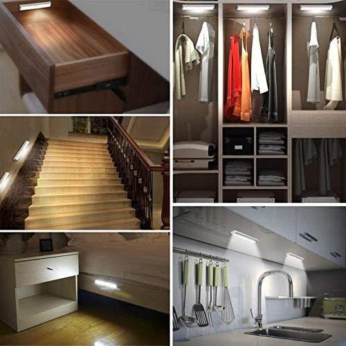Sensor de movimiento inalámbrico, luz nocturna LED con batería y tira magnética, iluminación para debajo del armario, armario, contador de armarios, escaleras de cobertizo, blanco: Amazon.es: Bricolaje y herramientas