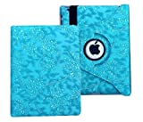 iPad Case Cover Rotating Stand with Wake Up / Sleep Function For Apple ipad 2nd 3rd 4th Generation Model A1395 A1396 A1397 A1416 A1430 A1403 A1458 A1460 or A1459 Blue Embossed Flower