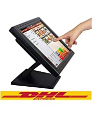 Kassa monitor Yonrux 15 inch registreerkast touchscreen monitor USB POS LCD-monitor 170 graden touchscreen monitor voor kassa systeem met standaard 1024 x 768 resolutie, VGA