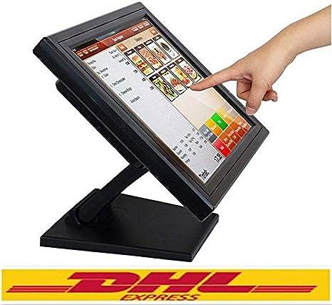 Yunrux - Monitor de caja registradora (15 pulgadas, pantalla táctil, USB, POS LCD, monitor de 170 grados, pantalla táctil para sistema de caja registradora, resolución 1024 x 768, VGA)