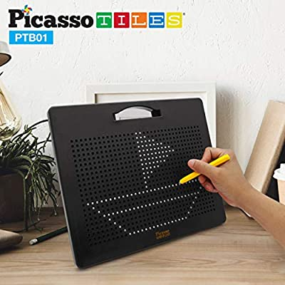 PicassoTiles Magnetic Drawing Board 12x10 inch Large 748 Bead Magnet Tablet Pad Erasable Reusable Writing Playboard STEM Toys Educational Playset Open-Ended Learning Kit Child Brain Development PTB01: Toys & Games