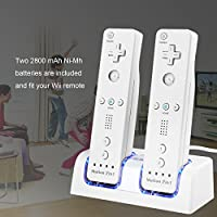 TechKen Wii Remote Battery Charger Station, Dual LED...