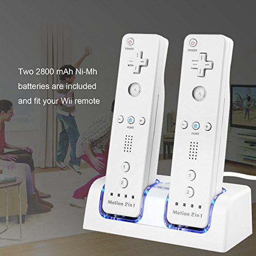 Dual Station Control (TechKen Wii Remote Battery Charger Station, Dual LED Lighting Charger Dock with 2 Rechargeable Batteries for Wii/ Wii U Remote Control, 2 Free Controller Batteries for Wii/Wii U)