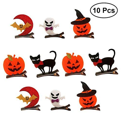 Frcolor 10pcs Halloween Hairpins Pumpkin Bat Ghost Hair Clips Accessories for Halloween (Cute Halloween Hair Ideas)
