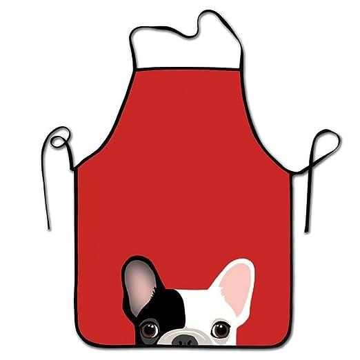 Hat New Delantal de Cocina con diseño de Bulldog francés Rojo y ...