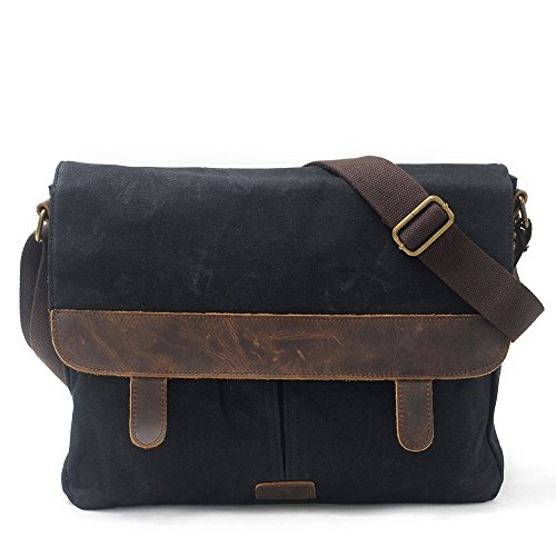 Messenger Shopping Bag Bag Casual Vintage Camping Canvas Oil Bag Wax Travel Bag Men With NONGNIML Cloth Shoulder Crossbody noir Waterproof Leather Khaki Bags Outdoor HdqRxCwtT5