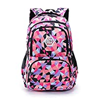 Adanina Geometric Prints Primary School Student Satchel Backpack Boys Book Bag School Bag for Students