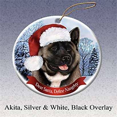 Holiday Pet Gifts Akita (Silver & Red) Santa Hat Dog Porcelain Christmas Tree (Akita Christmas Gifts)