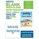 Neato Blank Full Sheet Labels - White – Vinyl Printable Sticker Paper - Glossy - Water Resistant - 10 Sheets - Online Design Label Studio Included