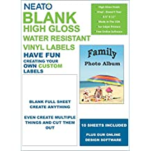 Neato Blank Full Sheet Labels – Vinyl Sticker Paper - Glossy - Water Resistant - 10 Sheets - Online Design Label Studio Included