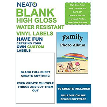 Amazon.com : Neato Blank Full Sheet Labels - White - Vinyl Printable ...