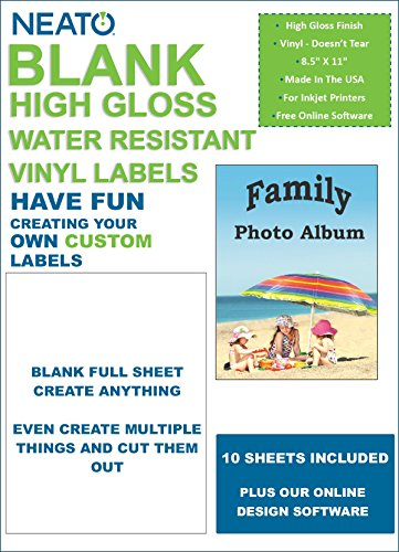 Neato Blank White Full Sheet Printable Labels - Water Resistant Glossy Vinyl Printable Sticker Paper - 10 Sheets - Online Design Label Studio Included -