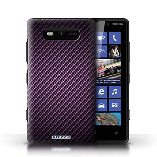 Etui / Coque pour Nokia Lumia 820 / Pourpre conception / Collection de Motif de Fibre de Carbone