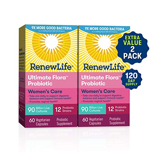 Renew Life Women's Probiotic – Ultimate Flora Women's Care, Shelf Stable Probiotic Supplement – Gluten, Dairy & Soy Free – 90 Billion Cfu – 60 Vegetarian Capsules (120 Count)