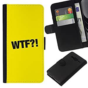 EJOY---La carpeta del tirón la caja de cuero de alta calidad de la PU Caso protector / Samsung Galaxy Core Prime / --WTF símbolo de la muestra Negro Signo Amarillo